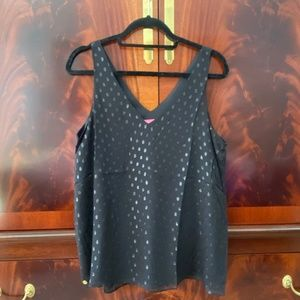 Lilly Pulitzer Florin Silk Tank Top Onyx Moroccan